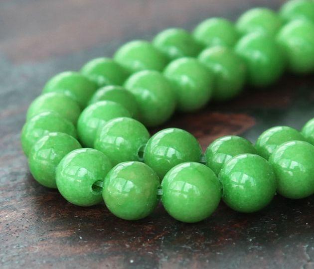 Apple Green Mountain Jade Beads 6mm Round Golden Age Beads