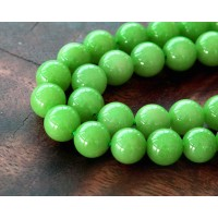 Apple Green Mountain Jade Beads, 8mm Round