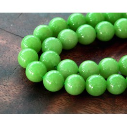 Apple Green Mountain Jade Beads, 8mm Round