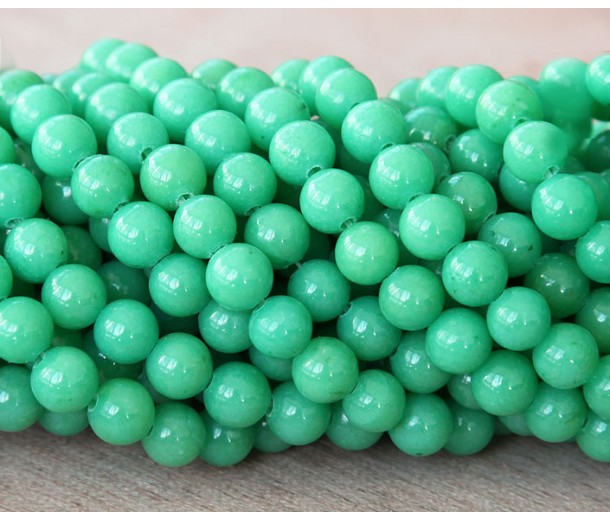 Pastel Green Mountain Jade Beads, 6mm Round