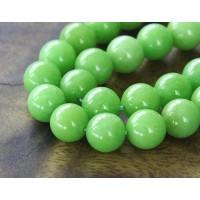 Light Apple Green Mountain Jade Beads, 8mm Round