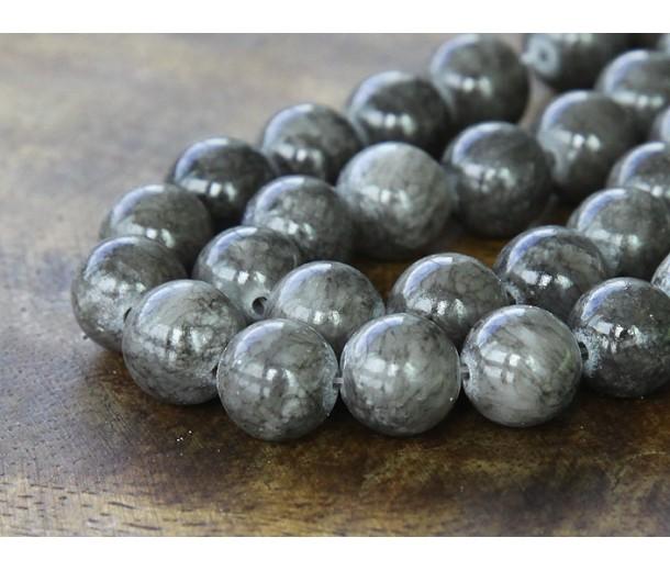 Grey Mountain Jade Beads, 10mm Round