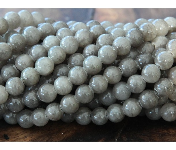 Grey Mountain Jade Beads, 6mm Round