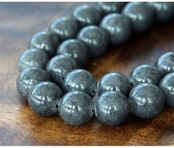 Steel Grey Mountain Jade Beads, 8mm Round