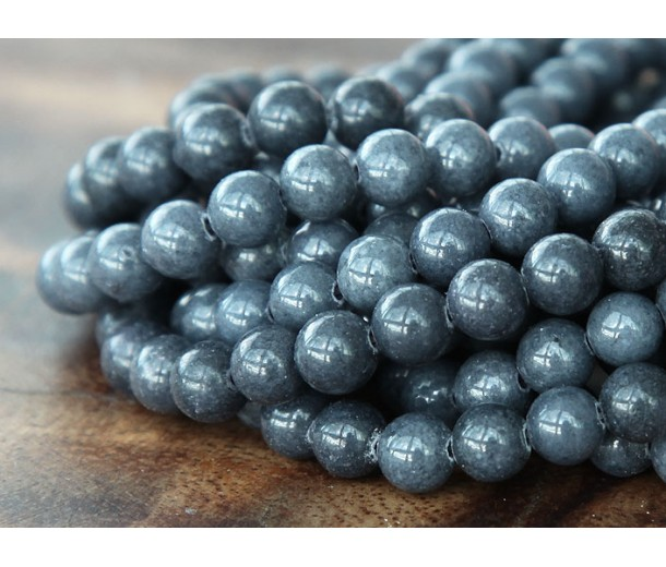 Steel Grey Mountain Jade Beads, 6mm Round