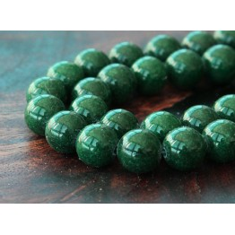 Dark Forest Green Mountain Jade Beads, 10mm Round
