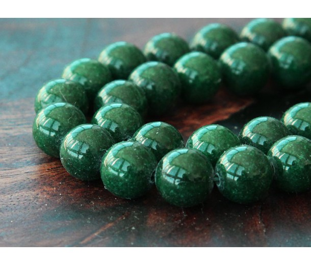 Dark Forest Green Mountain Jade Beads, 10mm Round