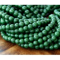 Dark Forest Green Mountain Jade Beads, 4mm Round