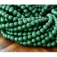 Dark Forest Green Mountain Jade Beads, 4mm Round