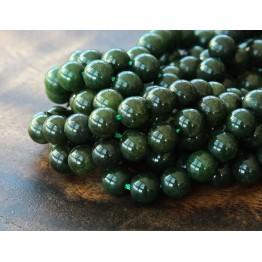 Dark Forest Green Mountain Jade Beads, 6mm Round
