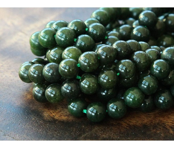 Dark Forest Green Mountain Jade Beads, 6mm Round