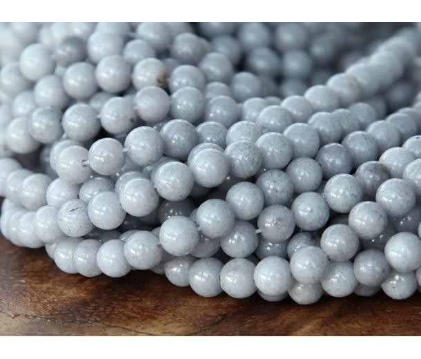 Mouse Grey Mountain Jade Beads, 4mm Round