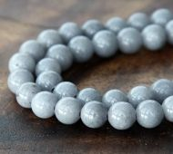 Mouse Grey Mountain Jade Beads, 6mm Round