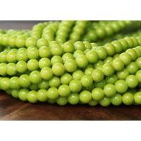 Yellow Green Mountain Jade Beads, 4mm Round