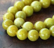 Mustard Yellow Mountain Jade Beads, 8mm Round