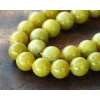 Mustard Yellow Mountain Jade Beads, 8mm Round