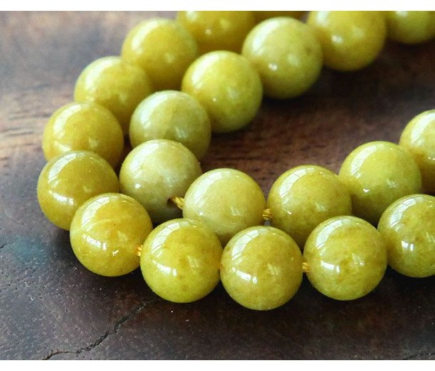 Yellowgreen Mountain Jade Beads, 6mm Round