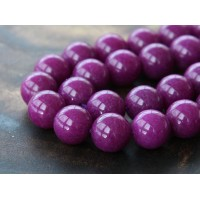 Magenta Mountain Jade Beads, 12mm Round