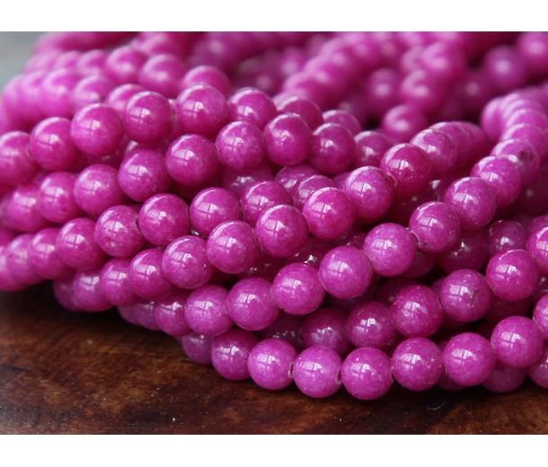 Magenta Mountain Jade Beads, 4mm Round