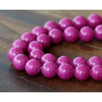 Magenta Mountain Jade Beads, 8mm Round