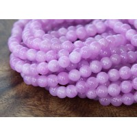 Light Orchid Mountain Jade Beads, 4mm Round