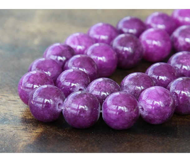 Grape Purple Mountain Jade Beads, 10mm Round