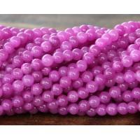 Medium Orchid Mountain Jade Beads, 4mm Round