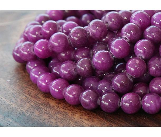 Grape Purple Mountain Jade Beads, 6mm Round