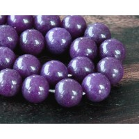 Eggplant Purple Mountain Jade Beads, 10mm Round