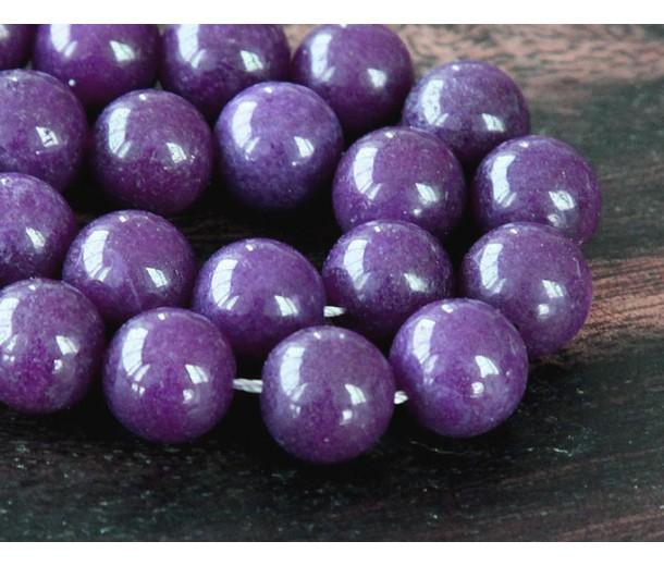 Eggplant Purple Mountain Jade Beads, 10mm Round