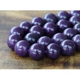 Eggplant Purple Mountain Jade Beads, 12mm Round