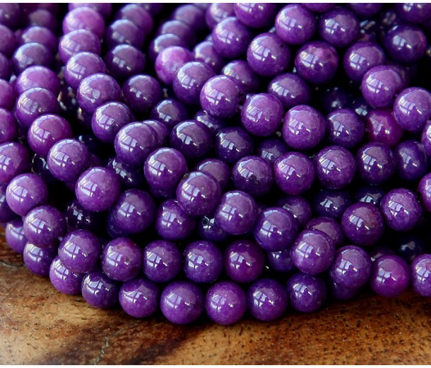 Eggplant Purple Mountain Jade Beads, 4mm Round