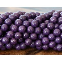 Eggplant Purple Mountain Jade Beads, 6mm Round