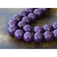 Eggplant Purple Mountain Jade Beads, 8mm Round