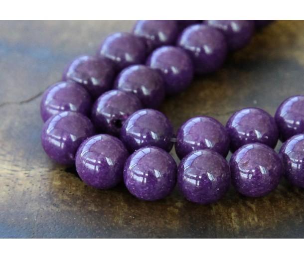 Eggplant Purple Mountain Jade Beads, 8mm Round