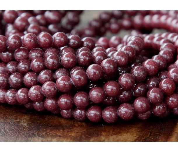 Chocolate Brown Mountain Jade Beads, 4mm Round