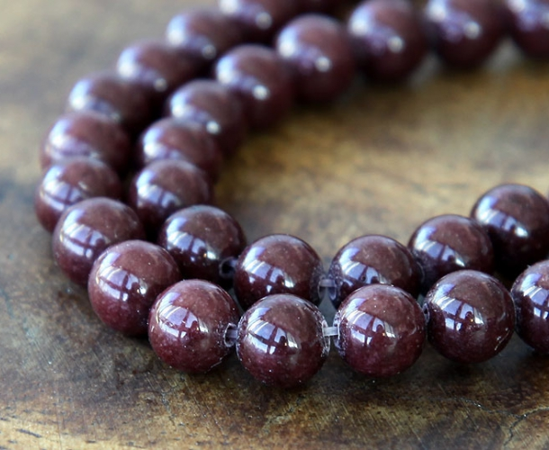 Chocolate Brown Mountain Jade Beads 6mm Round Golden