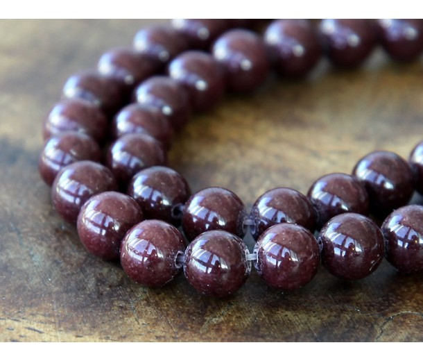 Chocolate Brown Mountain Jade Beads, 6mm Round