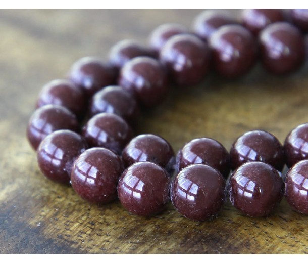 Chocolate Brown Mountain Jade Beads, 8mm Round