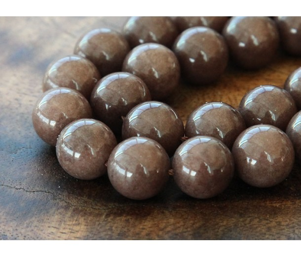 Coffee Brown Mountain Jade Beads, 10mm Round