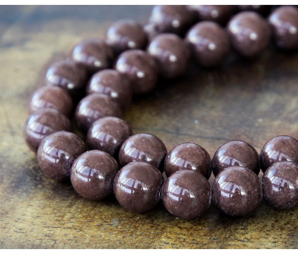 Coffee Brown Mountain Jade Beads, 6mm Round