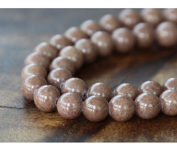 Cappuccino Brown Mountain Jade Beads, 6mm Round