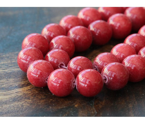 Berry Red Mountain Jade Beads, 10mm Round
