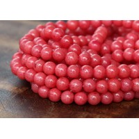 Berry Red Mountain Jade Beads, 4mm Round