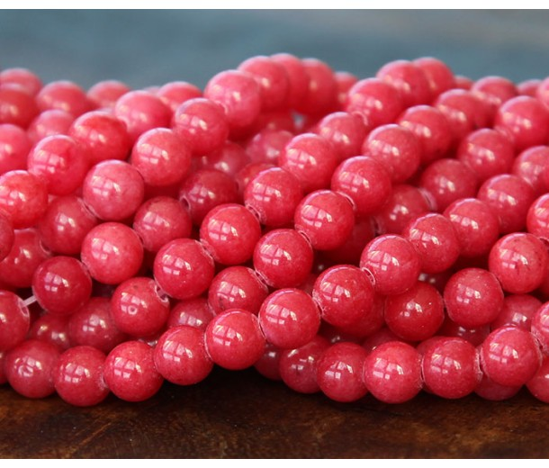 Berry Red Mountain Jade Beads, 6mm Round