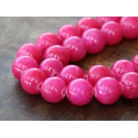 Hot Pink Mountain Jade Beads, 12mm Round