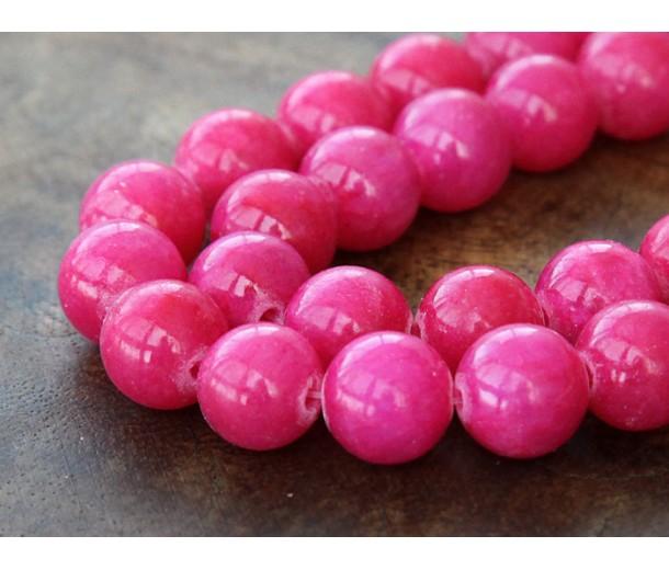 Hot Pink Mountain Jade Beads, 12mm Round