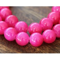 Hot Pink Mountain Jade Beads, 8mm Round