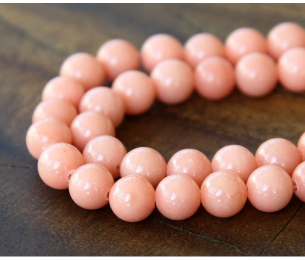 Light Coral Mountain Jade Beads, 8mm Round