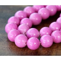 Hibiscus Pink Mountain Jade Beads, 10mm Round